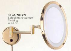 Schminkspiegel als Wandspiegel beleuchtet am Doppelgelenkarm