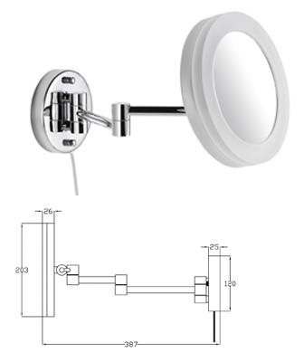 Kosmetikspiegel mit Vergrösserung als Wandspiegel beleuchtet mit LED by Bavaria Bäder-Technik.GdbR
