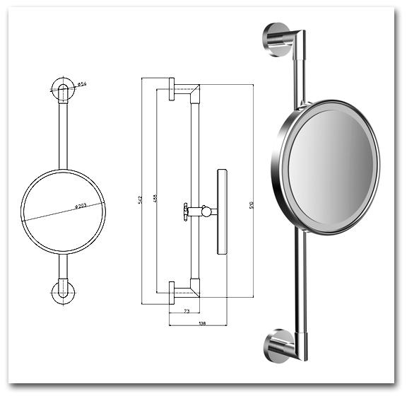 Kosmetikspiegel höhenverstellbar und beleuchtet by Bavaria Bäder-Technik GdbR