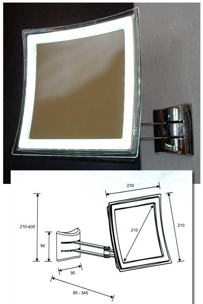 Quadratischer Kosmetikspiegel mit Batterie und LED - Beleuchtung