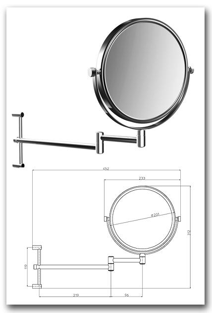 Kosmetikspiegel Rasierspiegel mit Vergrösserungsspiegel in rund und höhenverstellbar