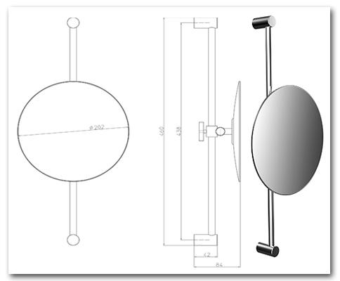 Kosmetikspiegel höhenverstellbar an der Wandstange mit Vergrösserung