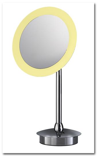 Standspiegel, der als Kosmetikspiegel und Schminkspiegel zu verwenden ist mit rundem Spiegelkopf und LED-Beleuchtung by Bavaria Bäder-Technik GdbR