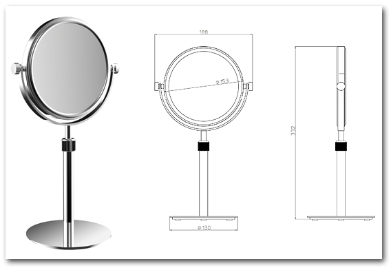 Kosmetikspiegel als Standspiegel höhenverstellbar by Bavaria Bäder-Technik GdbR