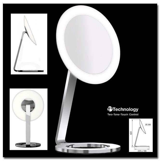 Kosmetikspiegel mit LED-Beleuchtung als Standspiegel by Bavaria Bäder-Technik GdbR