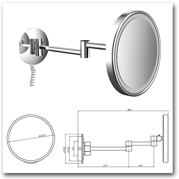 Kosmetikspiegel rund mit LED-Beleuchtung zur Montage an der Wand