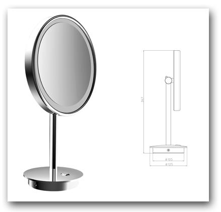 Standspiegel Kosmetikspiegel mit Vergrösserung und LED-Beleuchtung by Bavaria Bäder-Technik GdbR