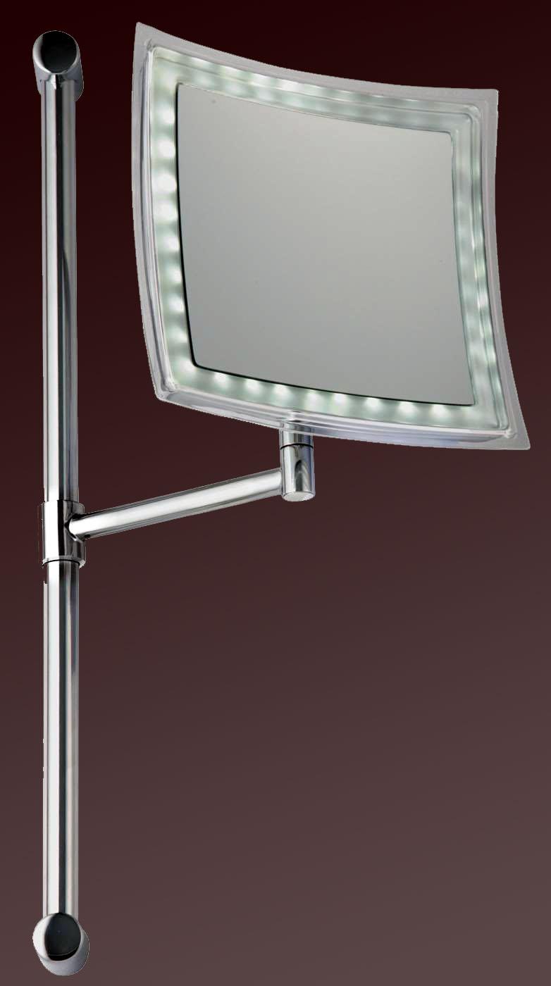 Vergrösserungsspiegel höhenverstellbar und beleuchtet mit Batterie als Kosmetikspiegel by Bavaria Bäder-Technik GdbR