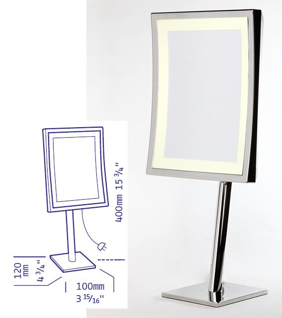 Vergrösserungsspiegel mit Spiegel in eckig by Bavaria Bäder-Technik GdbR