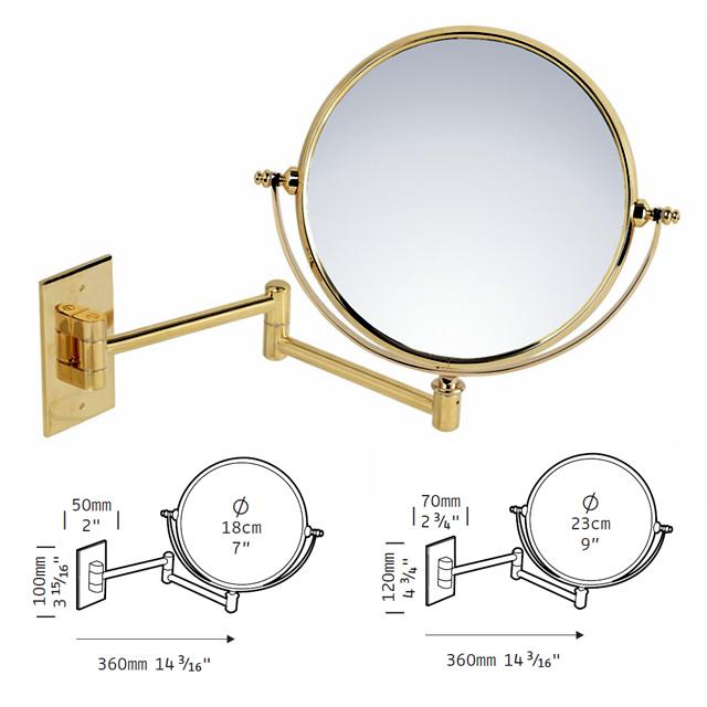 Kosmetikspiegel als Wandspiegel in Oberfläche messing oder goldfarben mit Vergrösserungsspiel by Bavaria Bäder-Technik GdbR